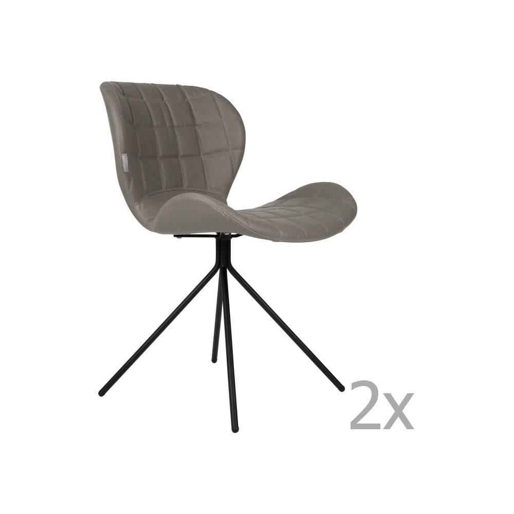 Zuiver Sada 2 sivých stoličiek Zuiver OMG LL