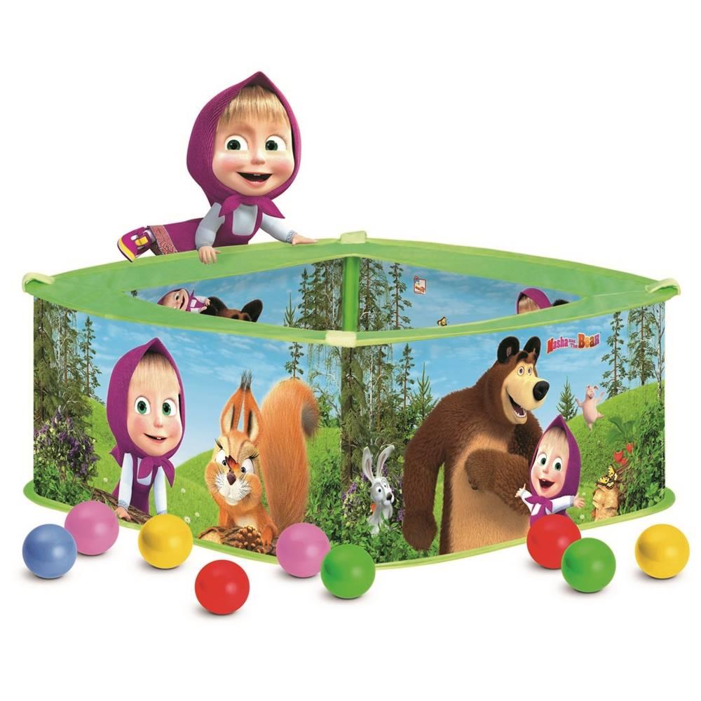 Bino Bino Bazén s balónikmi Máša a medveď, 30 x 75 x 75 cm