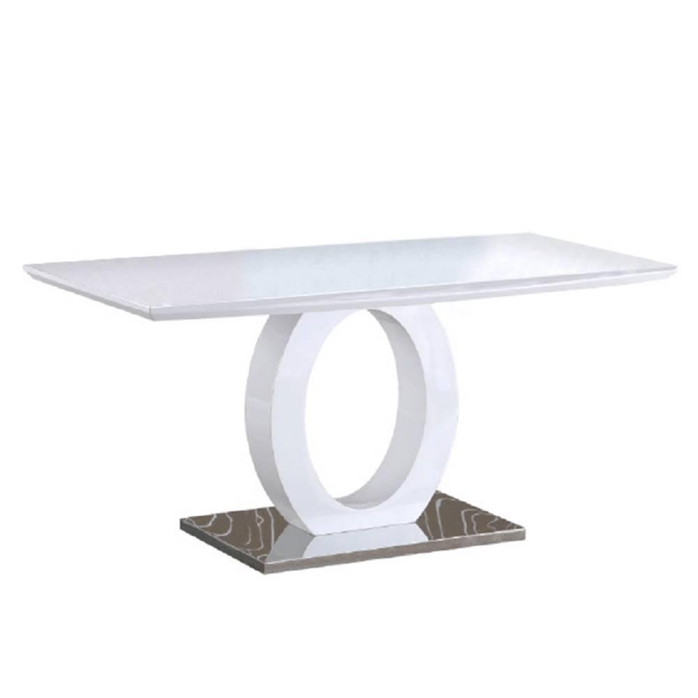 Tempo Kondela Jedálenský stôl biela vysoký lesk/oceľ ZARNI