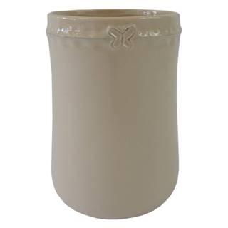 Keramická váza VK52 béžová s motýlikom