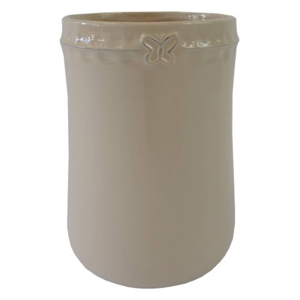 OKAY nábytok Keramická váza VK53 béžová s motýlikom