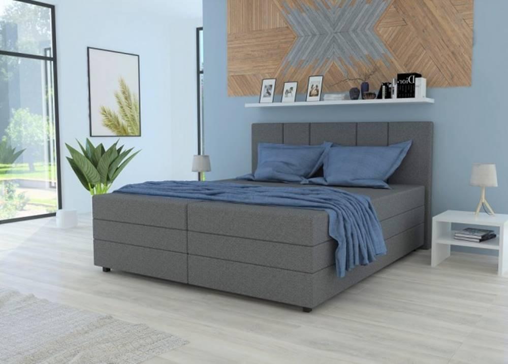 OKAY nábytok Čalúnená posteľ Alexa 180x200, vr. matraca a úp, sivá