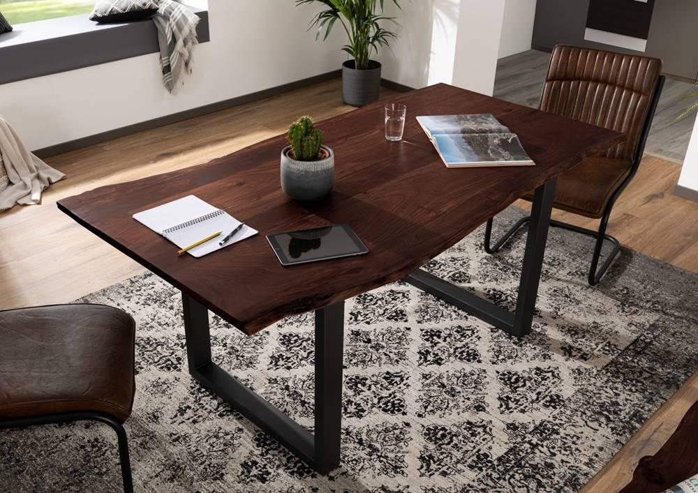 Bighome.sk METALL Jedálenský stôl s antracitovými nohami (matné) 140x90, akácia, hnedá