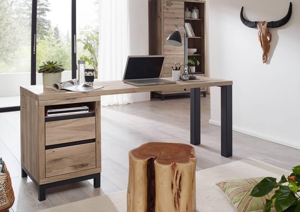 Bighome.sk TIROL Písací stôl s poličkou 220x55 cm, svetlohnedá, dub