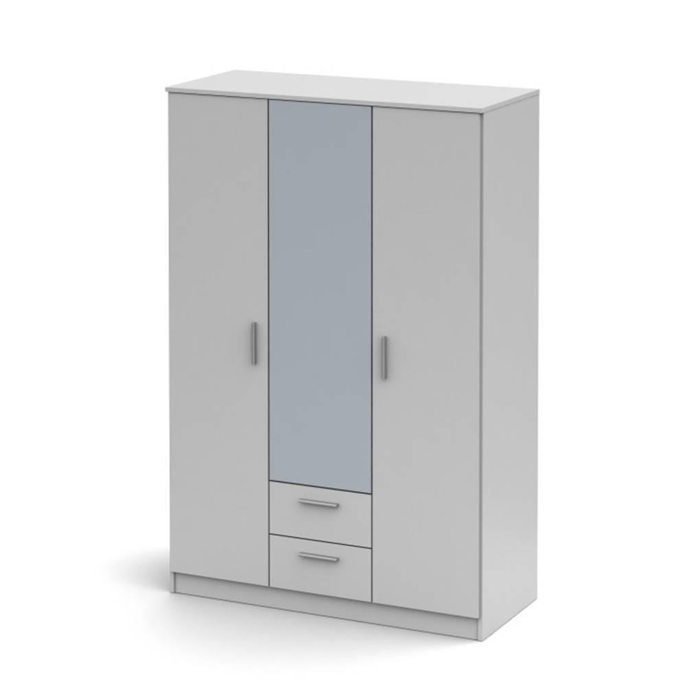Tempo Kondela Noko-Singa 82 3D šatníková skriňa so zrkadlom biela