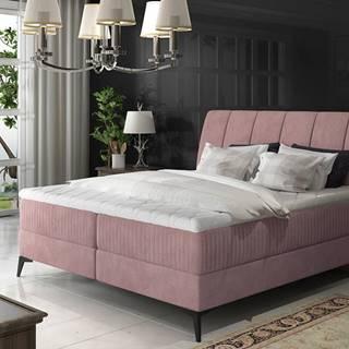 Altama 180 čalúnená manželská posteľ s úložným priestorom ružová