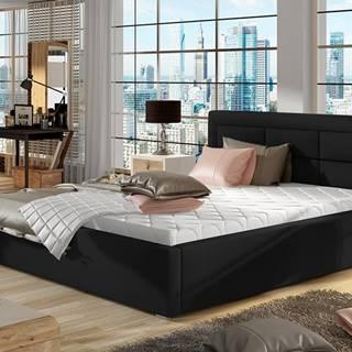 Rovigo UP 160 čalúnená manželská posteľ s roštom čierna
