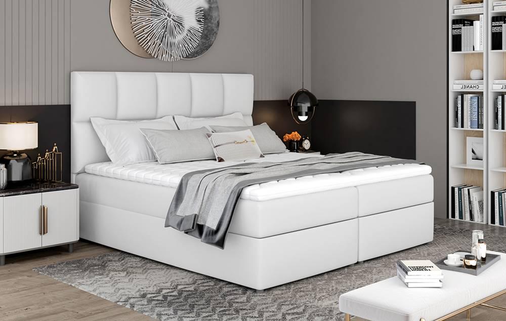 NABBI Grosio 165 čalúnená manželská posteľ s úložným priestorom biela