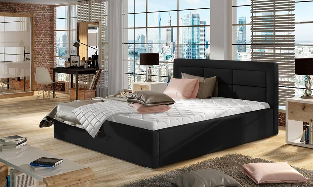 NABBI Rovigo UP 140 čalúnená manželská posteľ s roštom čierna