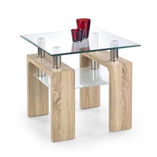 Diana H Kwadrat sklenený konferenčný stolík dub sonoma