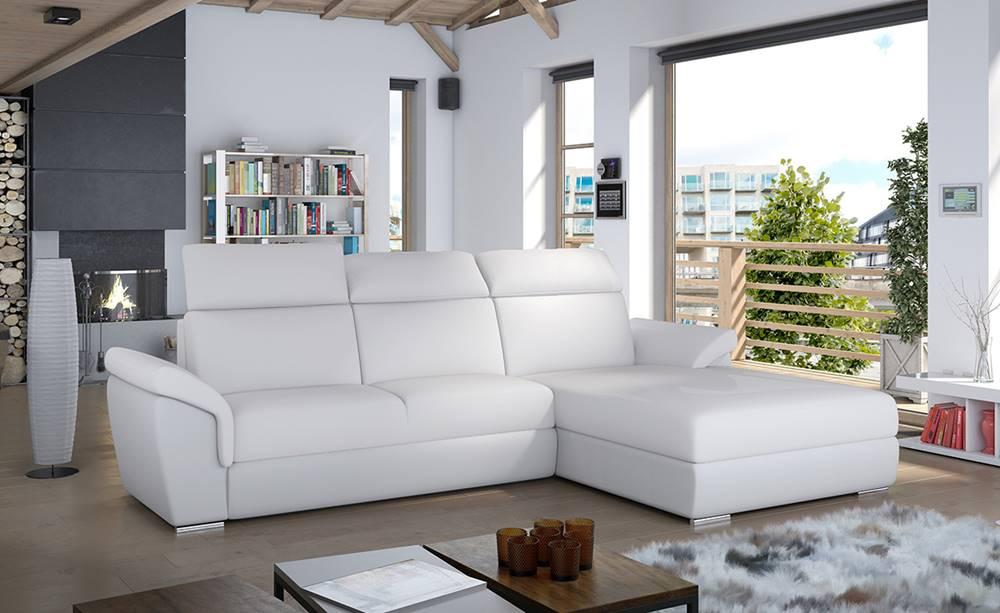 NABBI Tarragon P rohová sedačka s rozkladom a úložným priestorom biela