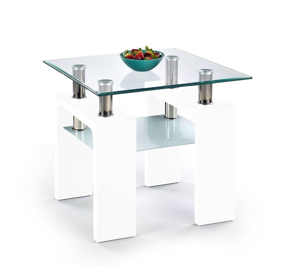Halmar Diana H Kwadrat sklenený konferenčný stolík biely lesk
