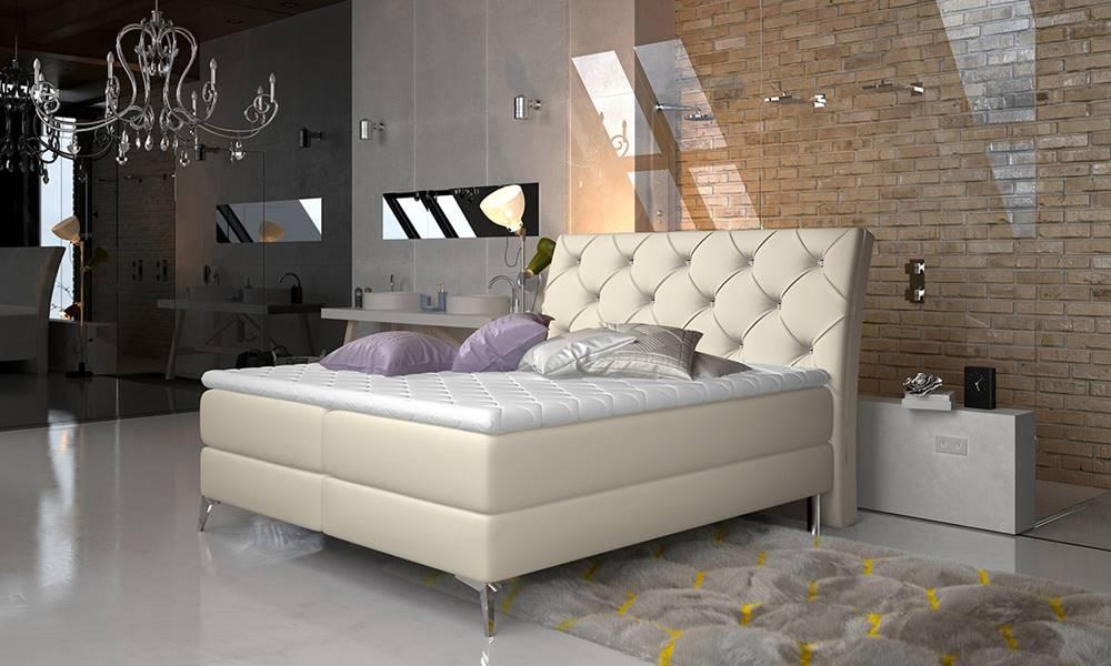 NABBI Amika 160 čalúnená manželská posteľ s úložným priestorom béžová