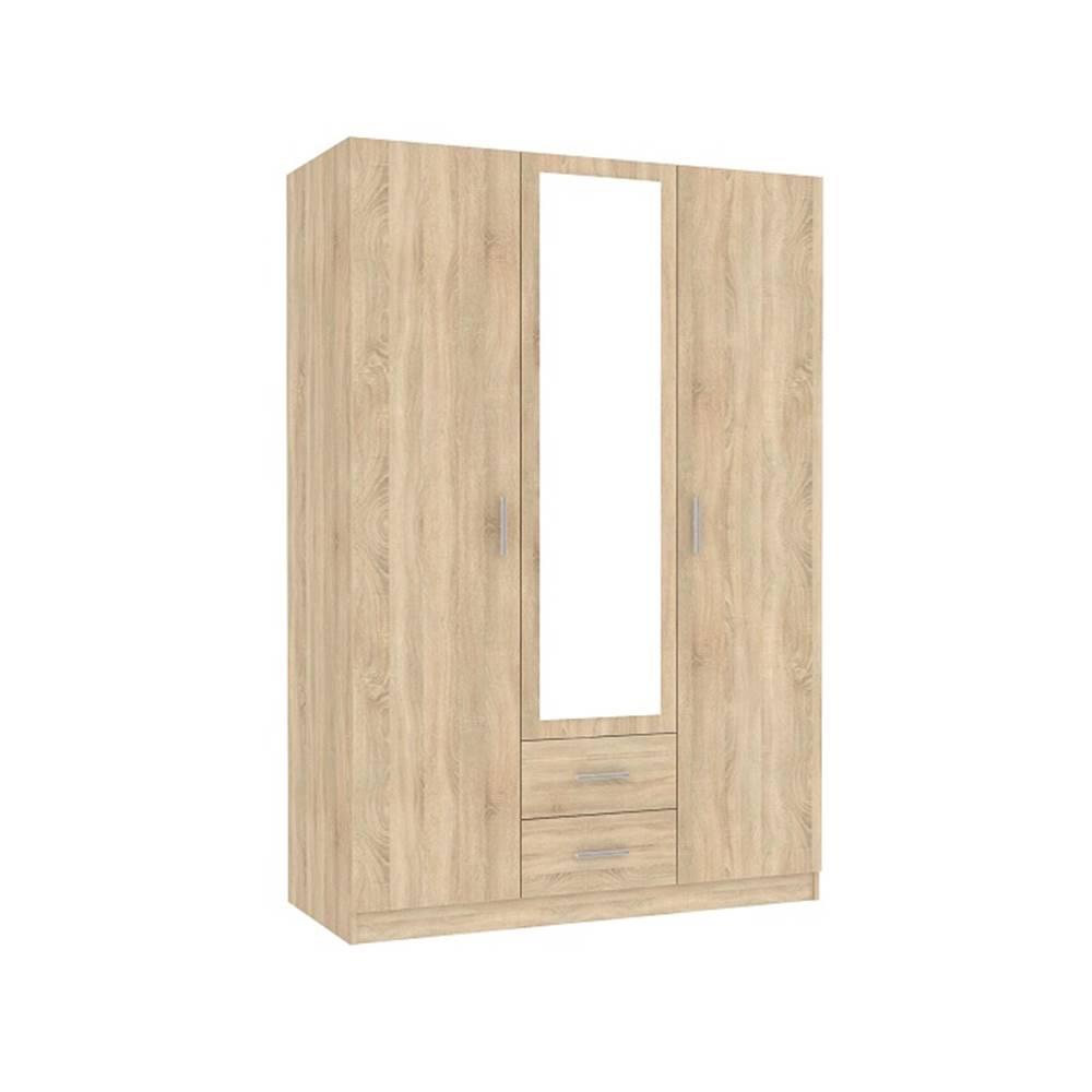 Tempo Kondela Invita Typ 2 3D šatníková skriňa so zrkadlom dub sonoma