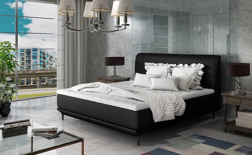 NABBI Ancona 180 čalúnená manželská posteľ čierna (Soft 11)