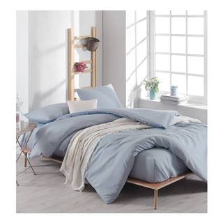 Svetlomodré bavlnené obliečky s plachtou na dvojlôžko, 220 × 240 cm