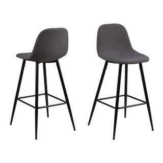 Sivá barová stolička s kovovou podnožou Actona Wilma