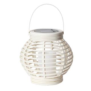 Biely solárny LED lampáš vhodný do exteriéru Best Season Rustic