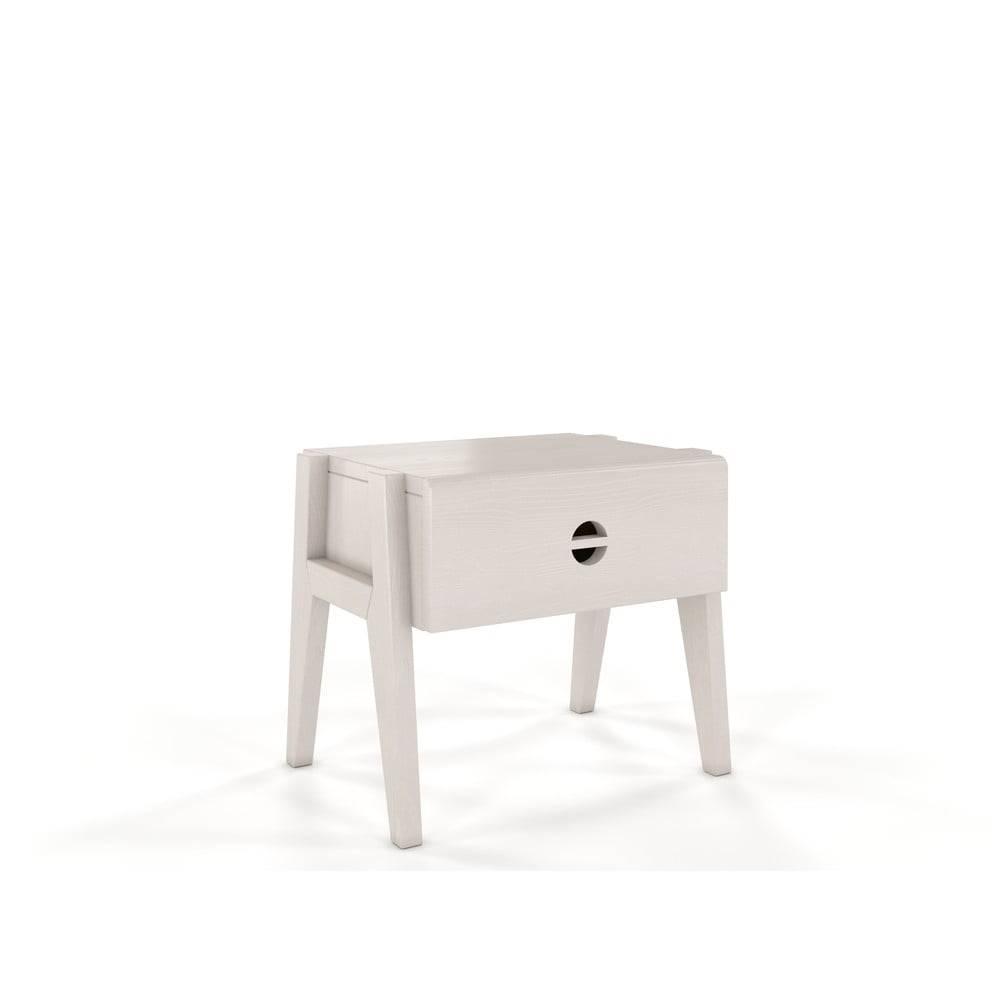 Skandica Biely nočný stolík z borovicového dreva so zásuvkou Skandica Visby Radom