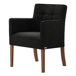 Čierna stolička s tmavohnedými nohami Ted Lapidus Maison Freesia