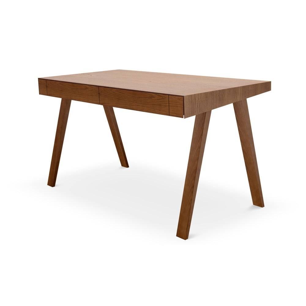 EMKO Hnedý písací stôl s nohami z jaseňového dreva EMKO, 140 x 70 cm