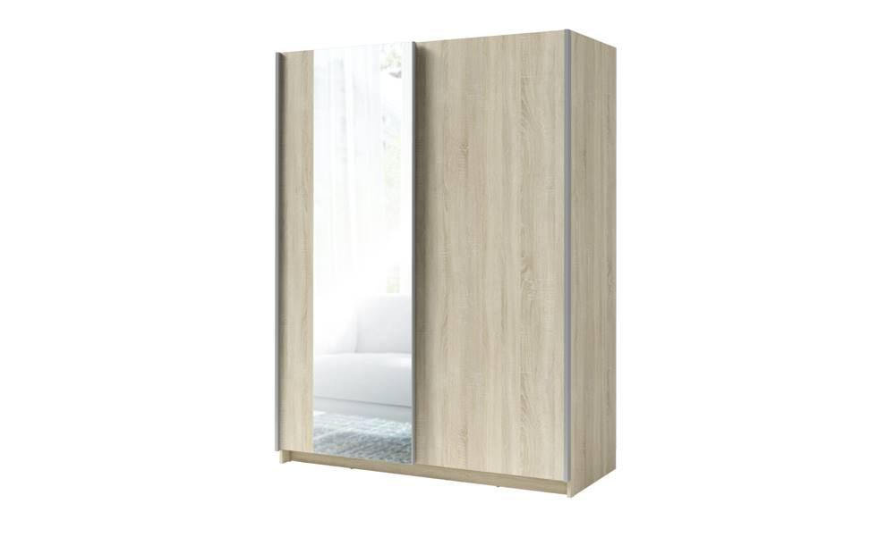 Sconto Šatníková skriňa so zrkadlom SPLIT dub sonoma, šírka 180 cm